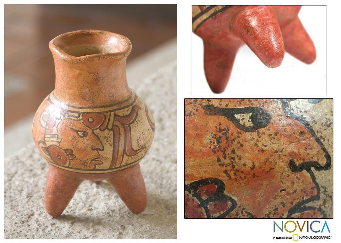 Handcrafted Ceramic 'Maya Life' Vase (El Salvador)
