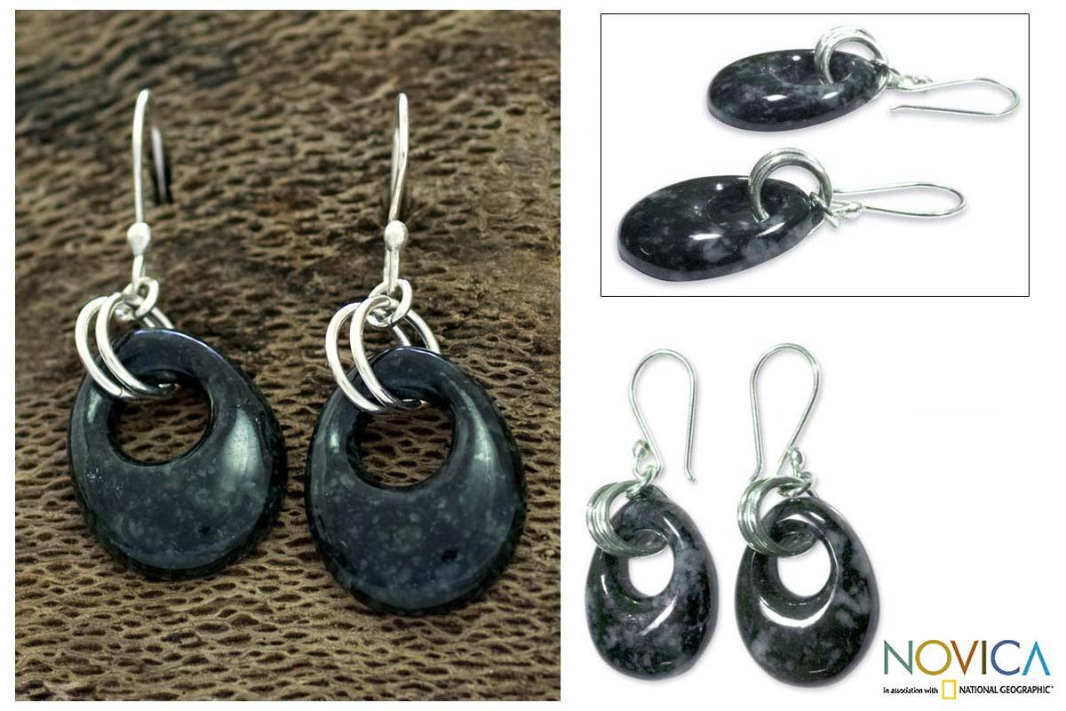 Sterling Silver 'Green Jaguar Night' Jade Earrings (Guatemala)