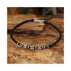 Silver Accent 'Hill Tribe Smile' Wristband Bracelet (Thailand)