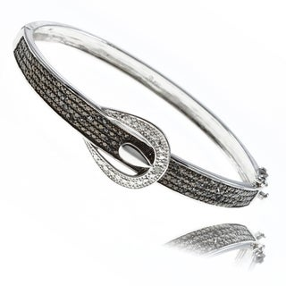 Finesque Silverplated 1/4ct TDW Black and White Diamond Bracelet (I-J, I2-I3)