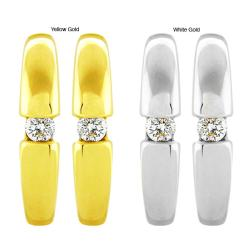 10k Gold 1/8ct TDW Diamond Contemporary Hoop Earrings (G-H, SI1-SI2)