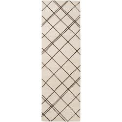 Hand-tufted Contemporary Beige Beigea New Zealand Wool Abstract Rug (2'6 x 8')