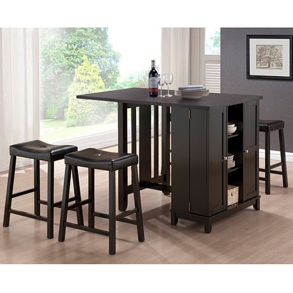 Aurora 5-Piece Dark Brown Modern Pub Table Set with Cabinet Base