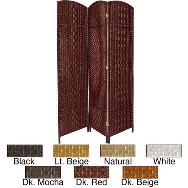 Seven-foot Diamond Weave Wood/Plant Fiber Room Divider (China)