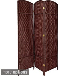 Seven-foot Diamond Weave Wood/Plant Fiber Room Divider (China)