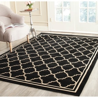 Safavieh Poolside Black/ Beige Indoor Outdoor Rug (9' x 12')