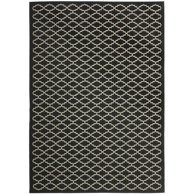Safavieh geometric print poolside black beige indoor for Geometric print area rugs