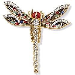 PalmBeach Goldtone/Gemstone 55-crystal High-polish Dragonfly Pin Bold Fashion
