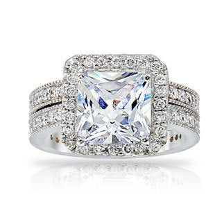 Icz Stonez Silvertone CZ Bridal Ring Set