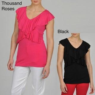 Grace Elements Women's Cap Sleeeve Ruffle Shirt