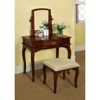 Lorena 2-Piece Solid Wood Vanity Table and Stool Set