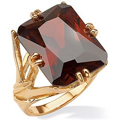 PalmBeach 25.90 TCW Emerald-Cut Red Cubic Zirconia 14k Gold-Plated Branch Ring Color Fun