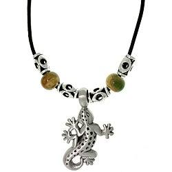 CGC Pewter Unisex Gecko and Glazed Porcelain Bead Necklace