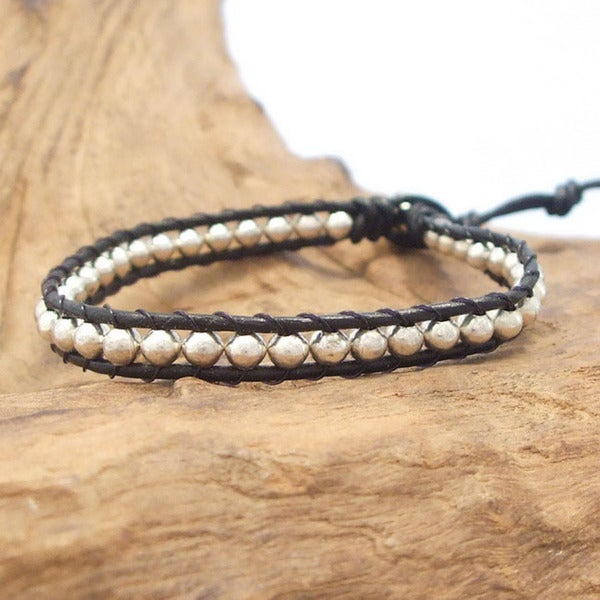 Cute Handcrafted Silver Beads Single Strand Leather Bracelet (Thailand)