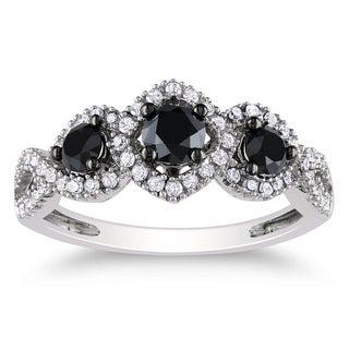 Miadora 10k White Gold 1 CT TDW Black and White Diamond Halo Ring (H-I, I2-I3)