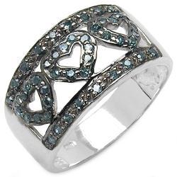 Malaika Sterling Silver 3/8ct TDW Blue Diamond Open Heart Ring