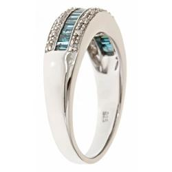 Anika and August Sterling Silver 1/2ct TDW Blue Diamond Ring (G-H, I1-I2)