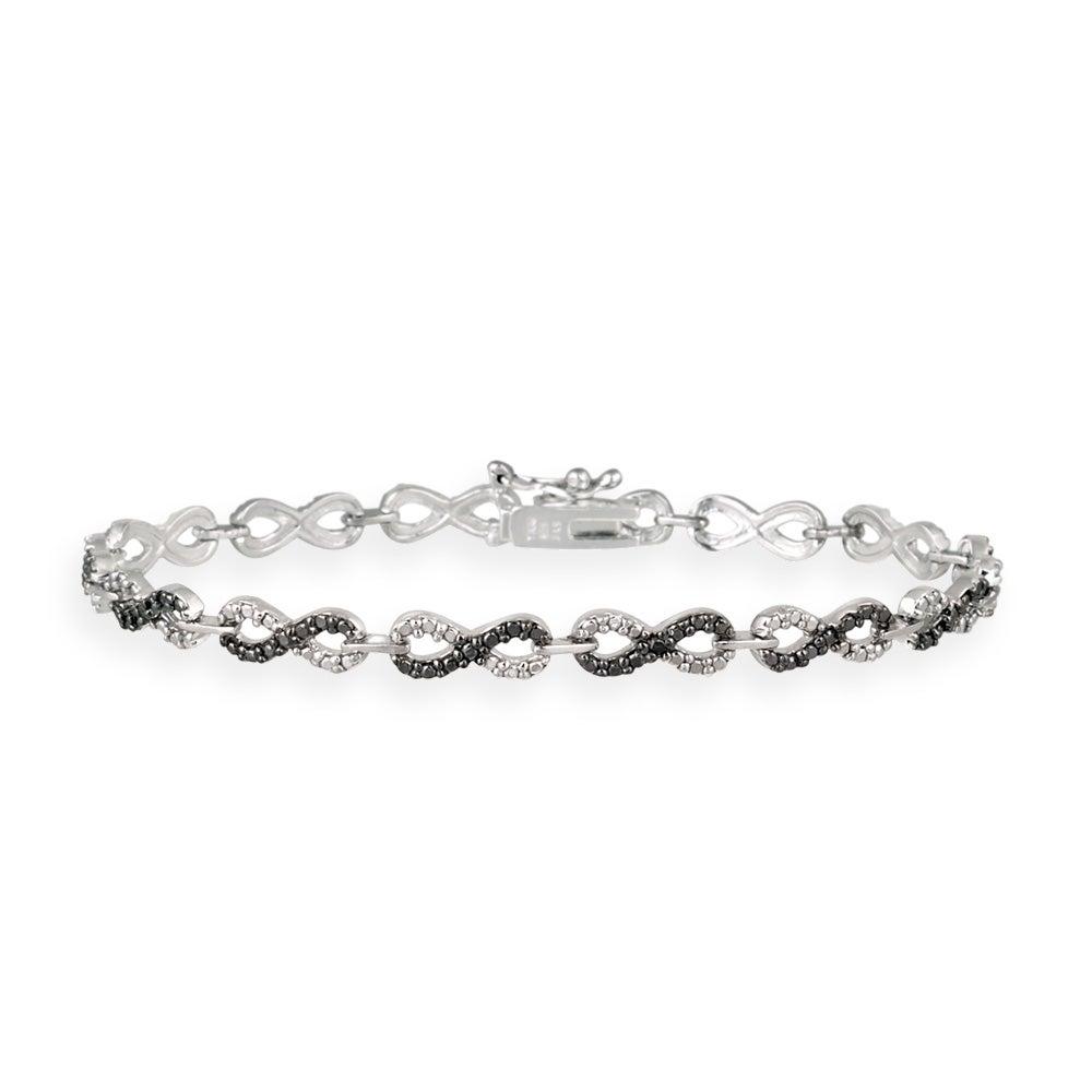 DB Designs Silvertone Black Diamond Accent Black And White Infinity Bracelet