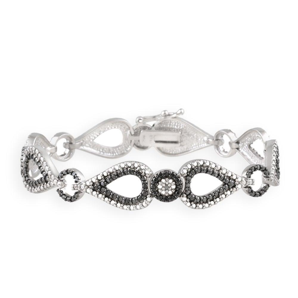 DB Designs Silvertone Black Diamond Accent Black And White Bracelet