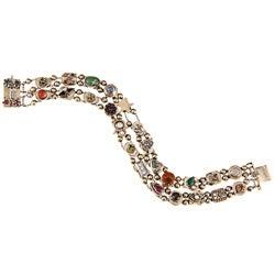 Pre-owned 14k Yellow Gold Multi-gemstone Antique Slide Estate Bracelet