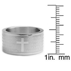 Oliveti Stainless Steel Lord's Prayer Ring (12 mm)
