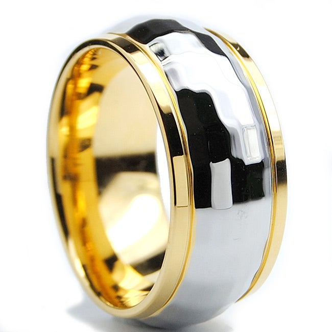 Oliveti Goldplated Stainless Steel Sparkle Ring (10 mm)