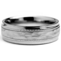 Oliveti Titanium Men's Milligrain Brushed and Hammered Ring (7 mm)