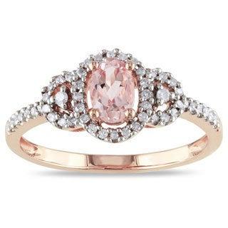Miadora 10k Pink Gold Morganite and 1/6ct TDW Diamond Ring (H-I, I2-I3)