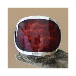Sterling Silver 'Morocco Red' Natural Resin Ring (Indonesia)