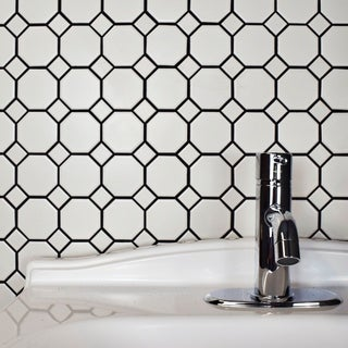 Somertile 11-5/8x11-5/8-inch Victorian Octagon Matte White with White Dot Porcelain Tile (Case of 10)