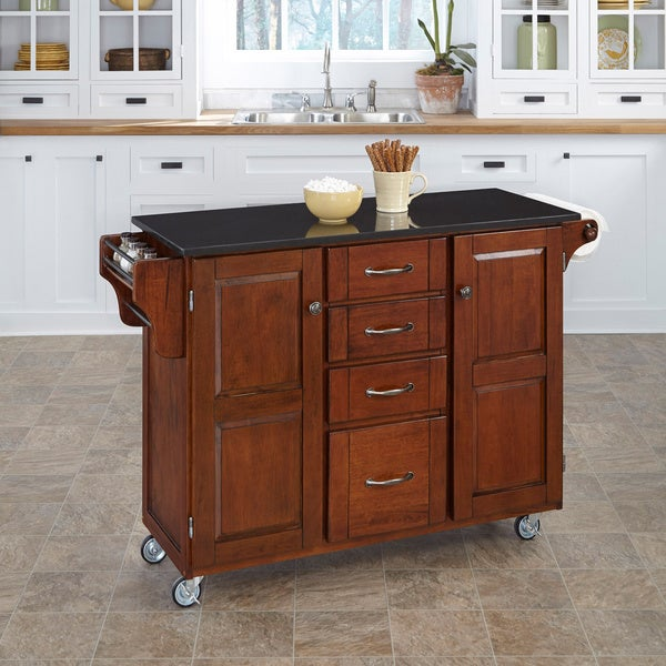 Cherry Finish Black Granite Top Create-a-Cart