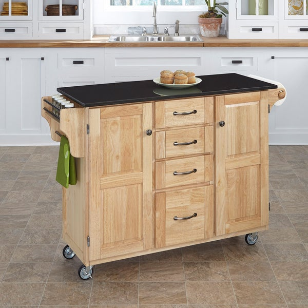 Natural Finish Black Granite Top Create-a-Cart
