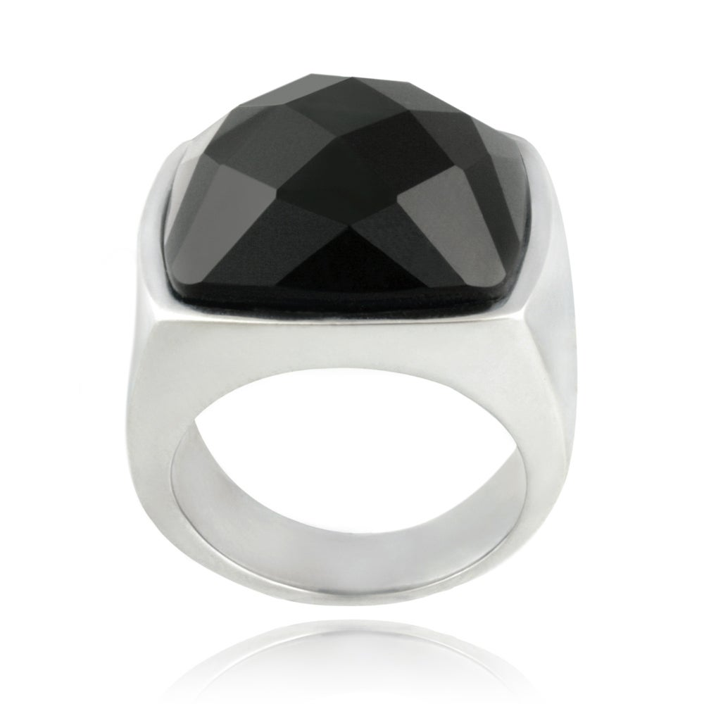 Glitzy Rocks Stainless Steel Bold Faceted Square Onyx Ring