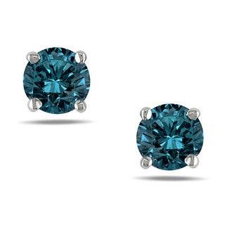Miadora 14k White Gold 1/2ct TDW Blue Diamond Solitaire Stud Earrings (I1-I2)