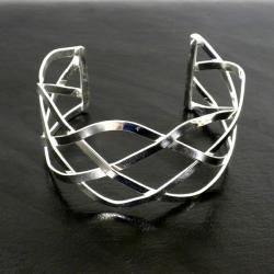 Handmade Silver-overlay Woven-design Slip-on Cuff Bracelet (Mexico)