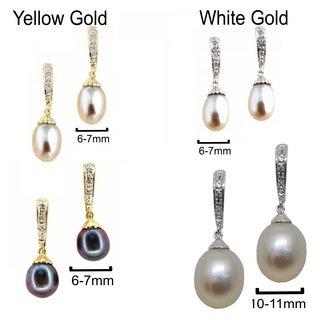 Kabella 14k Gold Vintage Bridal Cultured FW Pearl Diamond Earrings