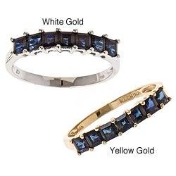 Anika and August D'Yach 14k Gold Princess-cut Blue Sapphire Ring