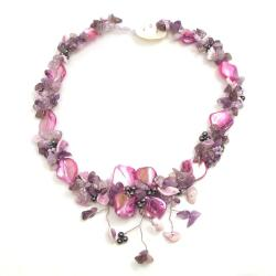 Purple Amethyst and Pink Shells Hidden Floral Toggle Necklace (Philippines)