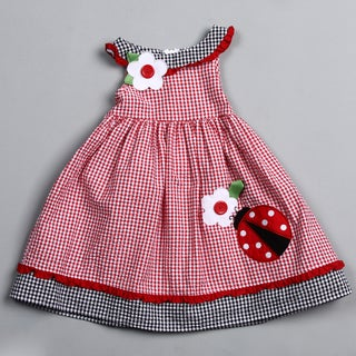 Good Lad Toddler Girl's Ladybug and Flower Embroidered Dress  FINAL SALE