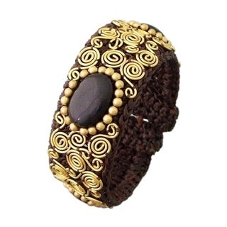 Gemstone Spiral Brass Cotton Cuff (Thailand)
