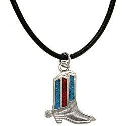 CGC Pewter Unisex Turquoise Cowboy Boot Necklace