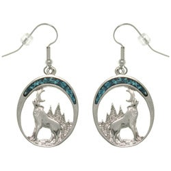 CGC Pewter Created Turquoise Howling Wolf Earrings