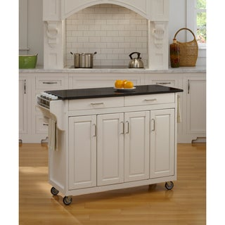 Home Styles &#39;Create-a-Cart&#39; White Finish Black Granite Top Cart