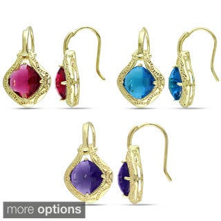 M by Miadora 18k Gold Overlay Synthetic Gemstone Earrings