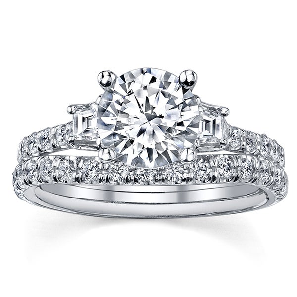 18k White Gold 1 1/8ct TDW Diamond Bridal Ring Set (I, SI3)