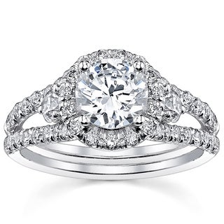 18k White Gold 2ct TDW Round Split Shank Halo Diamond Engagement Ring (H-I, SI2-SI3)