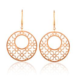 Rose Goldplated Stainless Steel Large Openwork Dangle Earrings