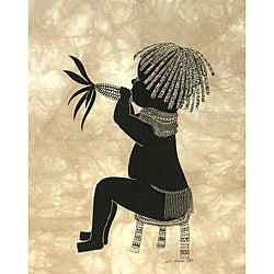 Heidi Lange 'Maina' Unframed Batik Cotton Screen Print (Kenya)