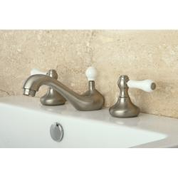 Satin Nickel Widespread Three-Hole Bathroom Faucet