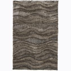 Hand-woven Mandara Dark Grey Shag Rug (7'9 x 10'6)
